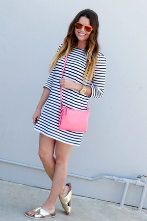 striped Forever 21 dress - hot pink Old Navy bag - metallic Target sandals