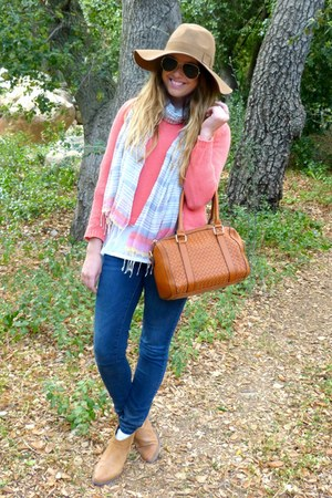 coral Urban Outfitters sweater - booties Forever 21 boots - wool Old Navy hat