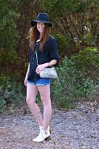 black H&M blouse - fedora Target hat - snake print H&M bag
