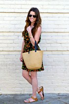 pineapple print TJMaxx dress - straw tote Target bag - Target sandals