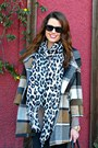 Plaid-urban-outfitters-coat-leopard-print-h-m-scarf-bowler-zara-bag