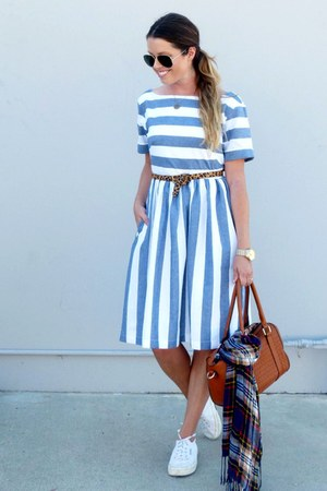 striped shabbyapple dress - white Superga sneakers - leopard print Target belt