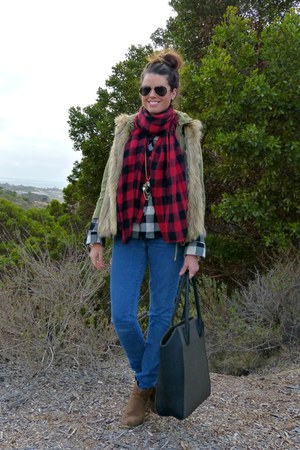 ruby red plaid Forever 21 scarf - skinny jeans Paige jeans - Forever 21 shirt