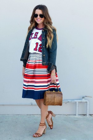 striped Downeast Basics skirt - denim TJ Maxx jacket
