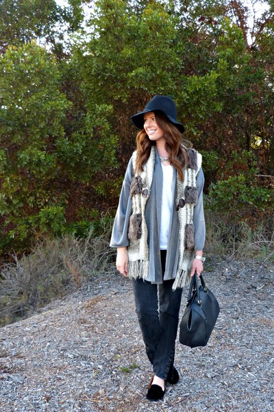 black Gap jeans - fedora Target hat - kimono StyleMint cardigan