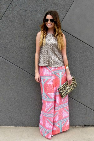 sequin Lovers & Friends top - leopard print H&M bag - printed MinkPink pants