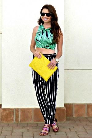 crop top Topshop top - heels Anthropologie shoes - clutch Zara bag