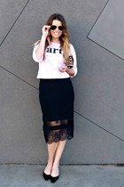 lace Topshop skirt - graphic Zara sweatshirt