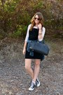 Black-suede-overalls-sisley-dress-plaid-flannel-cpshades-shirt