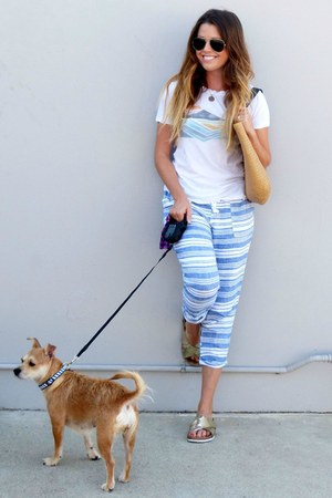 striped Old Navy pants - metallic Target sandals