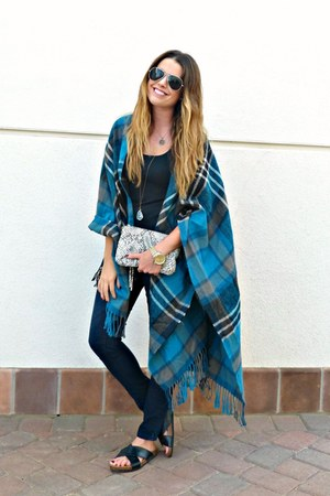 plaid asos cape - skinny Old Navy jeans - snakeskin H&M bag - slides H&M sandals