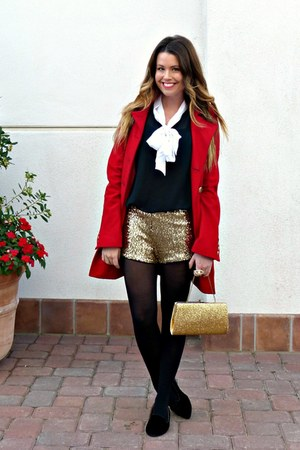 red Tulle jacket - sequined Forever 21 shorts - bow Target blouse