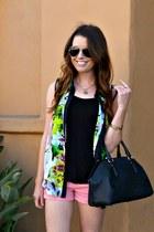 black H&M top - floral print Target top - bowler Zara bag