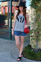 fedora Target hat - cross-body Downeast Basics bag - denim calvin klein shorts