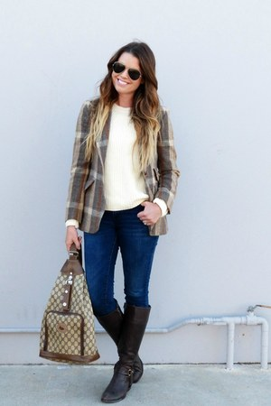 tweed vintage blazer - riding Ralph Lauren boots - skinny Old Navy jeans