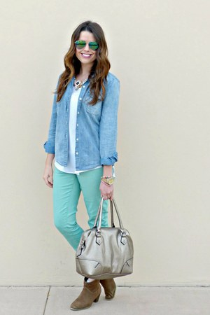 chambray Forever 21 shirt - ankle boots Marshalls boots