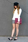 Cream-shabby-apple-sweater-clutch-dolce-vita-bag-trousers-forever-21-shorts