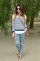 camo Old Navy pants - stripes StyleMint sweater - metallic Target sandals
