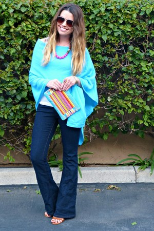sky blue poncho Lilly Pulitzer sweater - flares Forever 21 jeans