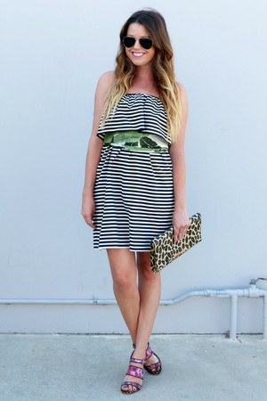 stripes Zara dress - leopard print H&M bag - floral print Anthropologie heels