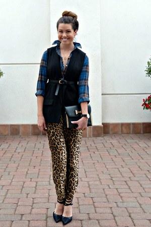 plaid Gap blouse - black Target pumps - leopard print Forever 21 pants