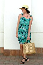 floppy hat asos hat - printed Rieley dress - straw vintage bag
