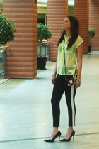 chartreuse wwwareyoufashioncom shirt - black wwwareyoufashioncom pants
