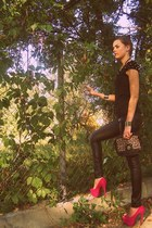 black are you fashion leggings - hot pink deezee shoes