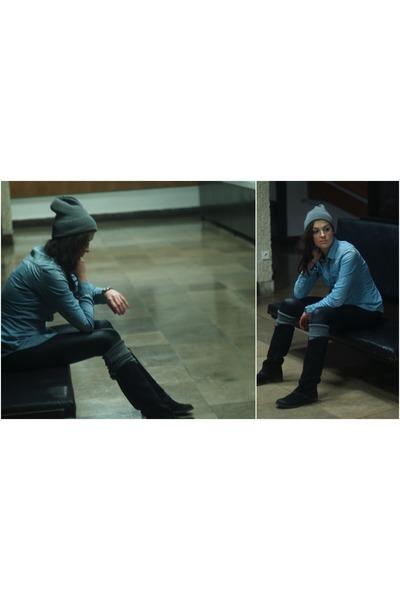 blue Bershka shirt - black Tommy Hilfiger boots