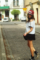 ruby red obey hat - black nike sneakers - black Motel Rocks skirt