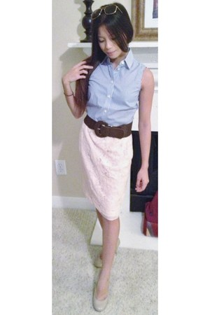 Forever 21 sunglasses - H&M skirt - Nine West heels - banana republic blouse