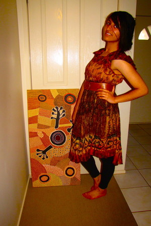 orange dress - brown Mossimo belt