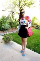 floral tee Prabal Gurung for Target top - leather skirt Bebe skirt