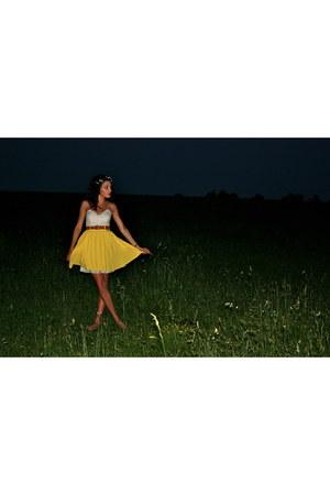 ivory lace tulle Forever 21 dress - light yellow Target skirt