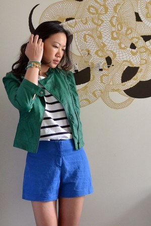 green Zara jacket - blue asos shorts - stripe Topshop top