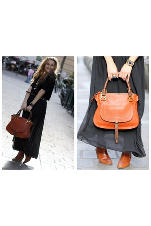 black SANDRO sweater - black American Apparel skirt - burnt orange Chloe bag
