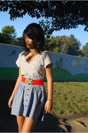 pinkzone shirt - forever 21 belt - Old Navy skirt - H&M hat