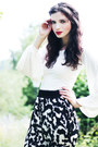 Navy-forever-21-blazer-black-monki-wedges-white-wide-sleeved-johanna-vikman-