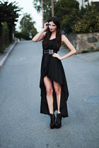black asymmetrical Love dress - black Jeffrey Campbell heels