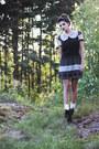 Black-polka-dot-print-mina-uk-dress-black-pony-hair-litas-jeffrey-campbell-hee