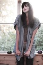 charcoal gray H&M t-shirt - sky blue denim shirt Monki shirt