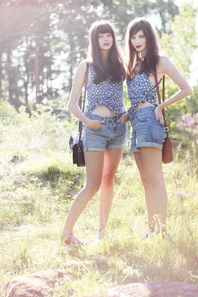 blue flower print H&M top - sky blue denim Monki shorts