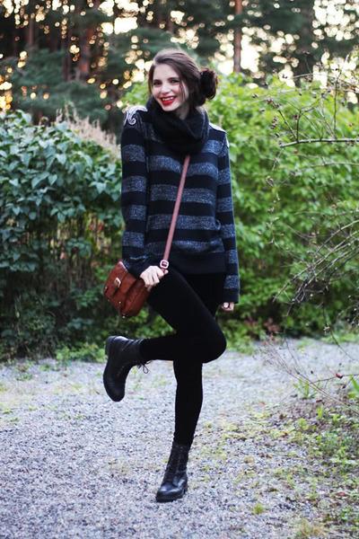black army Nilson boots - dark gray H&M sweater - black velvet Forever 21 tights