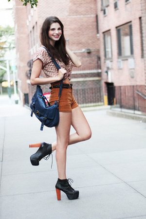 blue Forever 21 bag - burnt orange corduroy Forever 21 shorts