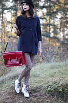 navy River Island coat - white patent leather Dr Martens boots