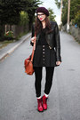 Red-patent-vagabond-boots-crimson-beret-hlns-hat-black-leather-sofifi-jacket