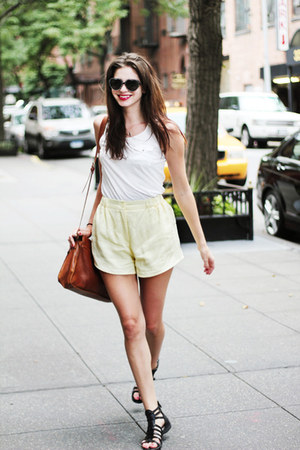 dark brown leather satchel Vero Moda bag - light yellow weekday shorts