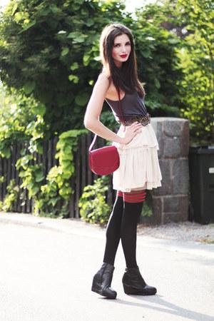 black striped asos tights - ruby red Monki bag - black Monki wedges