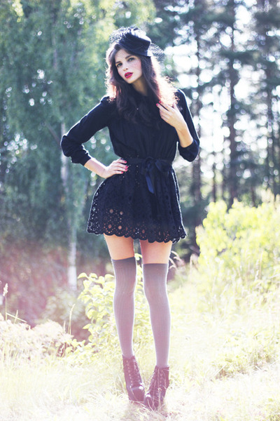 8ce296be8 black Sans Noblesse dress - black veiled vintage hat - gray over knee asos  socks