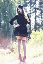 black Sans Noblesse dress - black veiled vintage hat - gray over knee asos socks